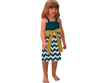 Green + Gold Chevron Game Day Dress - Girls