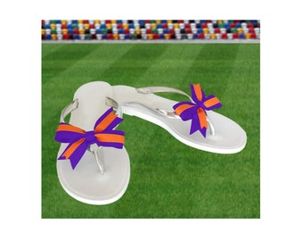Orange + Purple Bow Jelly Sandals