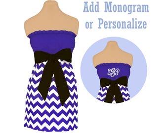 Purple + Black Chevron Game Day Dress