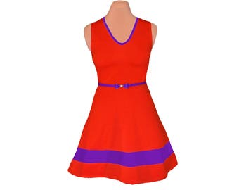 Orange + Purple Skater Dress