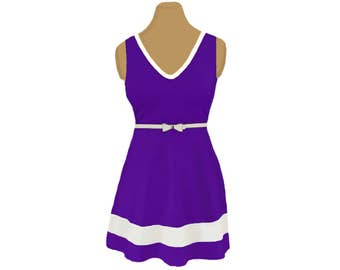 Purple + White Skater Dress