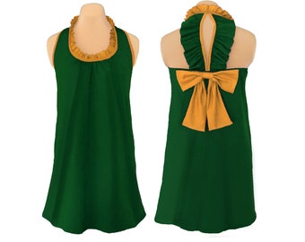 Green + Gold Back Bow Dress