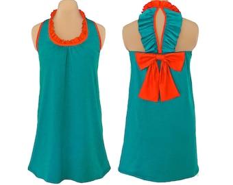 Aqua and Orange Back Bow Dress