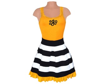 Black + Yellow Stripe Scuba Skirt and Monogram Tank