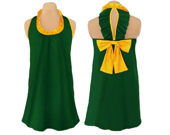 Green + Yellow Back Bow Dress