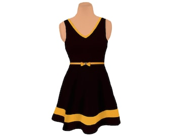 Black + Yellow Skater Dress
