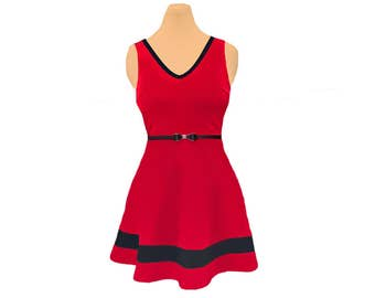 Red + Black Skater Dress