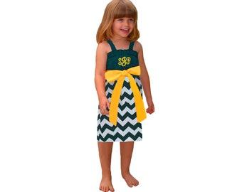 Green + Yellow Chevron Game Day Dress - Girls