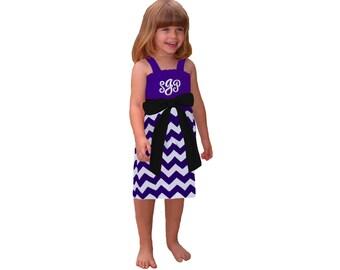 Purple + Black Chevron Game Day Dress - Girls