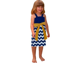 Blue or Navy + Gold Chevron Game Day Dress - Girls