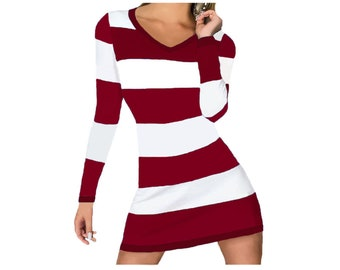 Deep Red and White Stripe Game Day Dress