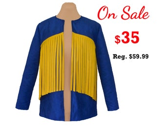 Blue Suede Jacket with Bright Gold Fringe