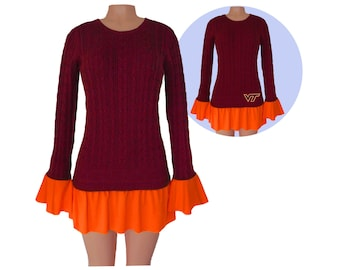 Maroon + Orange Tunic Sweater