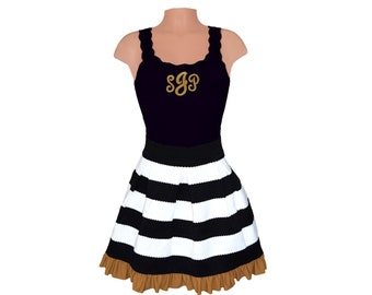 Black + Gold Stripe Scuba Skirt and Monogram Tank