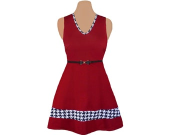 Crimson + Houndstooth Skater Dress