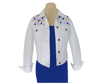 Game Day Jacket with Orange + Blue/Navy Crystal Embellishments