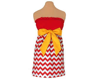 Red and Golden Yellow Chevron Game Day Dress