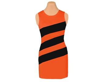 Orange + Black Diagonal Stripe Dress