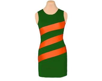 Orange + Green Diagonal Stripe Dress