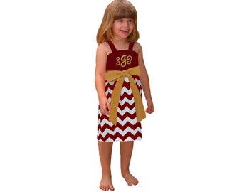 Deep Red + Gold Chevron Game Day Dress - Girls