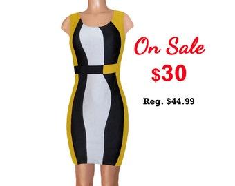 Black + Yellow Color Block Dress