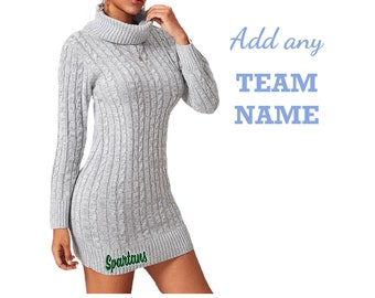 Game Day Turtleneck Sweater Dress with Team Name