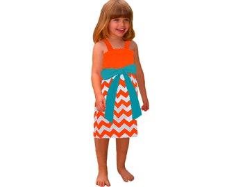 Orange + Aqua Chevron Game Day Dress- Girls