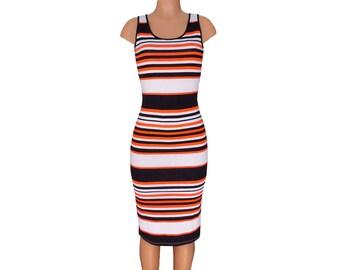 Orange + Black Striped Tank Dress