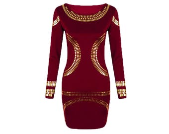 Sexy Deep Red + Gold Foil Dress