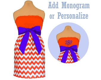 Orange + Purple Chevron Game Day Dress