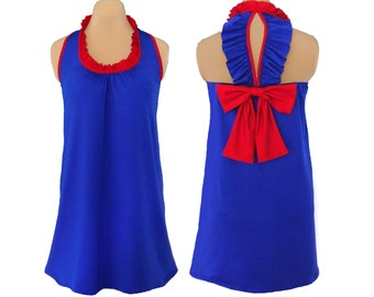 Blue + Red Back Bow Dress