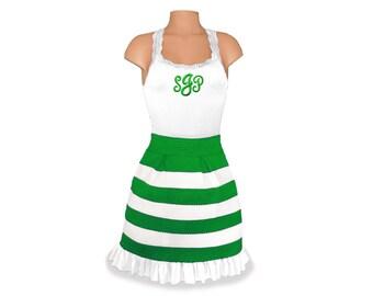 Green + White Stripe Scuba Skirt and Monogram Tank