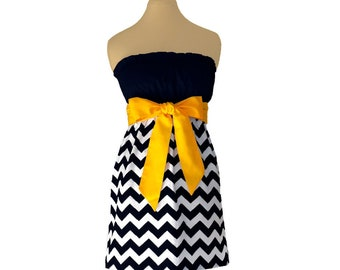 Black + Yellow Chevron Game Day Dress