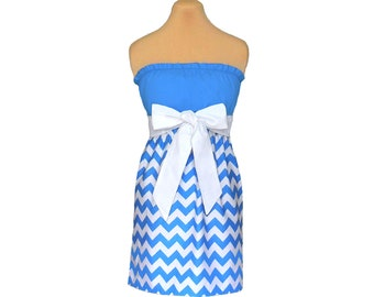 Light Blue + White Chevron Game Day Dress