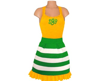 Green + Yellow Stripe Scuba Skirt and Monogram Tank
