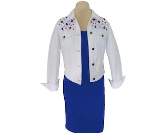 Game Day Jacket with Orange + Blue/Navy Crystal Embellishments