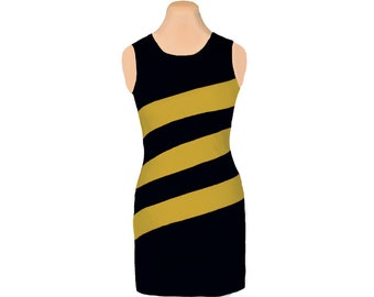 Black + Gold Diagonal Stripe Dress