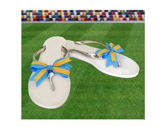 Light Blue + Bright Gold Bow Jelly Sandals