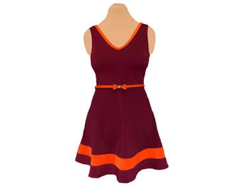 Orange + Maroon Skater Dress