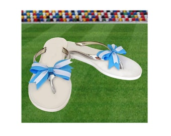 Light Blue + White Bow Jelly Sandals