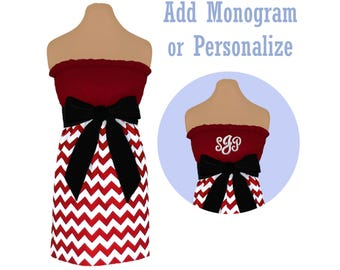 Deep Red + Black Chevron Game Day Dress