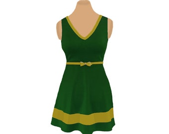 Green + Gold Skater Dress