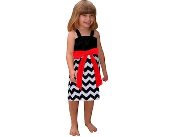Red + Black Chevron Game Day Dress - Girls