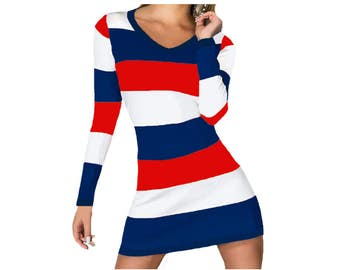 Ole Miss, Arizona Wildcats, Patriots, Texans, Titans, Red Sox, Braves, Angels, Nationals Stripe Game Day Dress