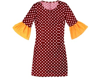 Deep Red and White Polka Dot Dress with Golden Yellow Trumpet Sleeves Game Day Dress