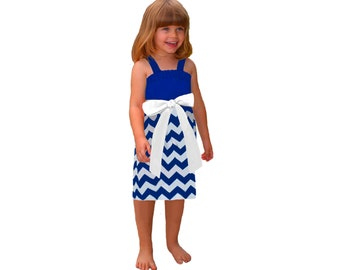 Blue + White Chevron Game Day Dress - Girls