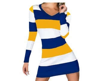 Michigan Woverines, West Virgina, WVU Mountaineers, Cal Berkeley, Golden State Warriors Stripe Game Day Dress