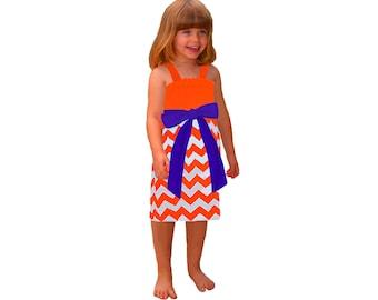 Orange + Purple Chevron Game Day Dress - Girls