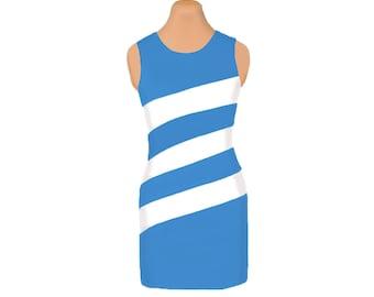 Light Blue and White Diagonal Stripe Dress