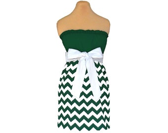 Green + White Chevron Game Day Dress